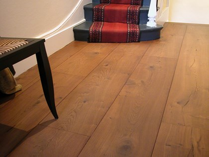 Wooden flooring, Baked Oak, Wide Planks in hallway