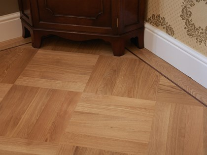 Wooden flooring, Ratio Pattern Prime Grade Oak Parquet with Walnut Inlay