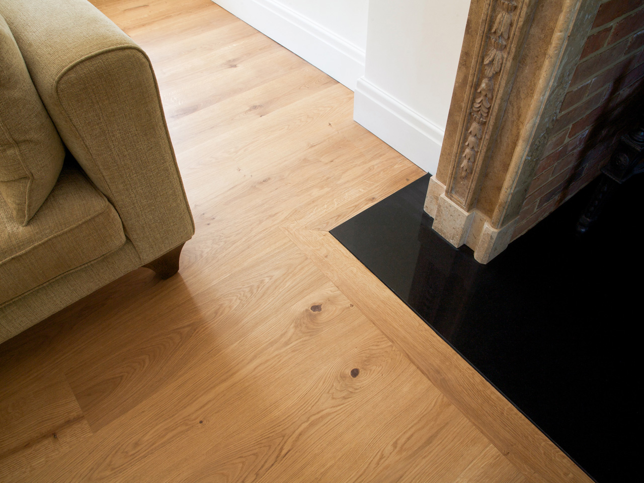 Wooden flooring, Fireplace detail