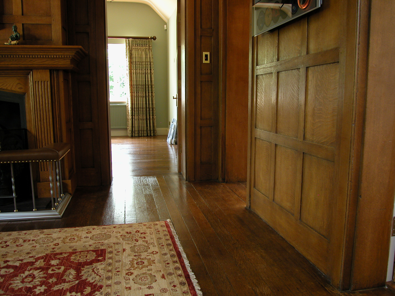 Wooden flooring, Restored Quartersawn Oak Strip Flooring and Wall Panelling